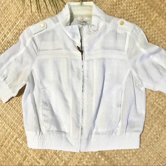 259ac8db8 Guess Jackets & Coats   White Short Sleeve Linen Jacket   Poshmark